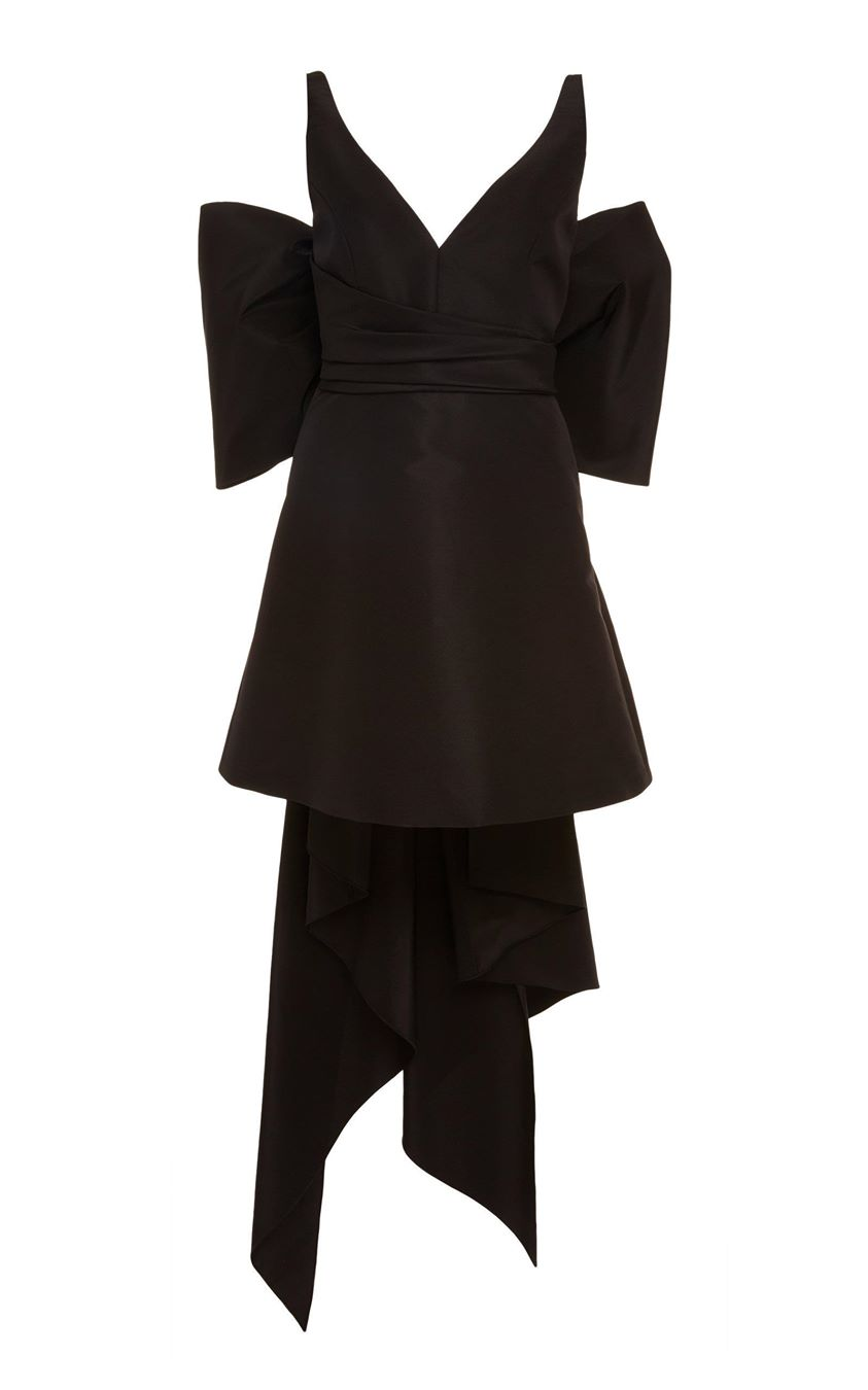 Carolina Herrera Bow-Detailed Silk-Taffeta Mini Dress Size: 8