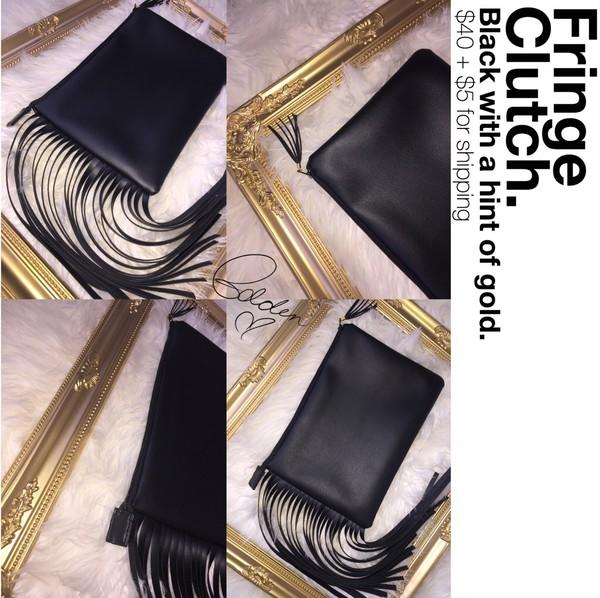 bag black clutch black purse handmade clutch purse bags and purses fringes fringed bag fringe clutch black bag