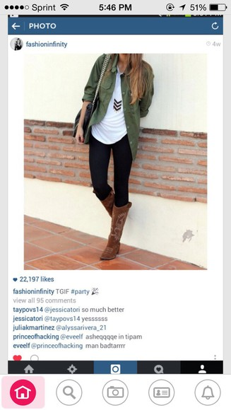 blouse boots green jacket necklace