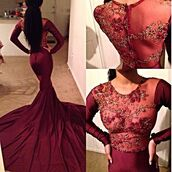 dress,prom dress,long prom dress,mermaid prom dress,cute dress,sexy,prom,elegant,elegant dress,see through,see through dress,burgundy dress,burgundy prom dress,long sleeve prom dress,lace dress