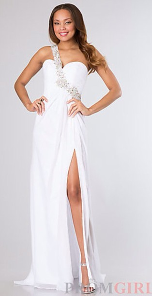 dress, white, white dress, long dress, long prom dress, girly ...