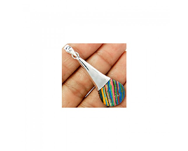 Awesome 925 sterling silver rainbow-calsilica-pendant