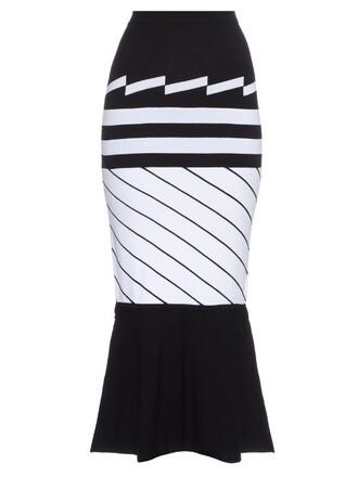 skirt midi skirt knit midi white black