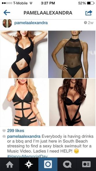 swimwear black bikini bikini one piece swimsuit onepiece cut-out swimsuit