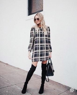 shoes boots black boots over the knee boots dress long sleeve dress mini dress bag printed dress sunglasses