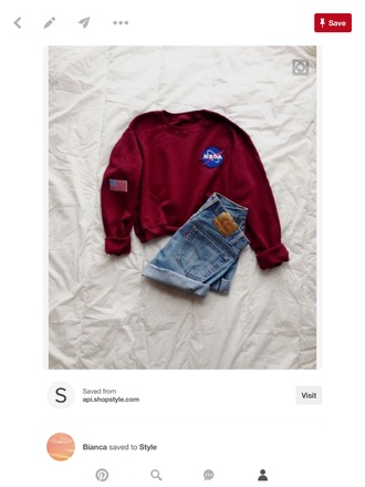 sweater sweatshirt hipster burgundy nasa cozy casual shorts logic