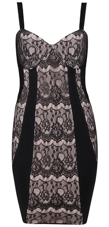 Black Nude Lace Bandage Bodycon Dress — GIRL CRUSH BOUTIQUE