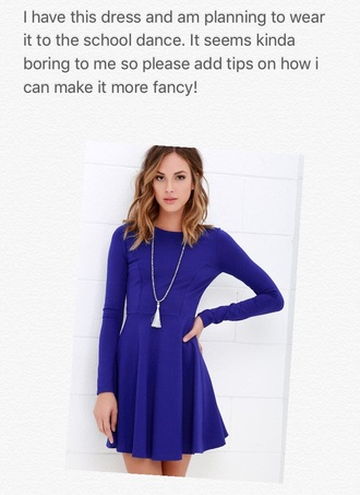 dress long sleeve dress accessories fancy royal blue