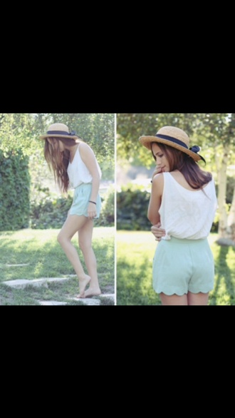 shorts clothes blogger spring outfits fall outfits pretty white tank top long hair floral flowers blouse