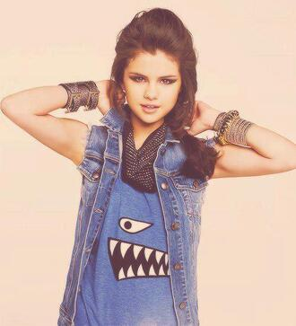 t-shirt blue monster cool funny sweet selena gomez selena tank top blue dress jacket blue tank top woman t-shirt swag