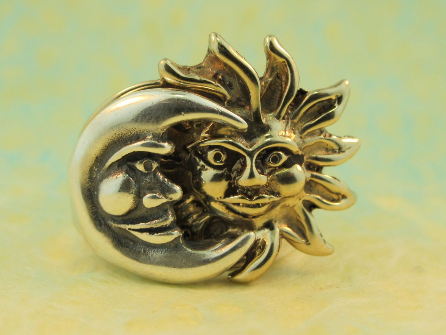 Sun moon eclipse ring silver and bronze version