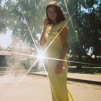 dress balenciaga long dress maxi dress yellow dress yellow mytheresa selena gomez celebrity style celebrity