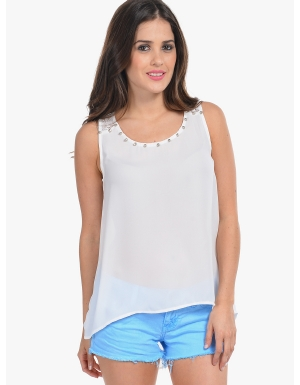 Cheap Chiffon Sleeveless Top | Moddeals.com