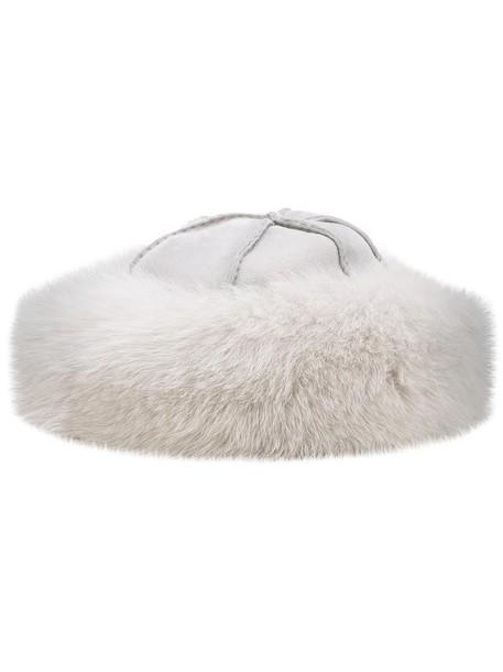 Loro Piana fur fox women hat grey