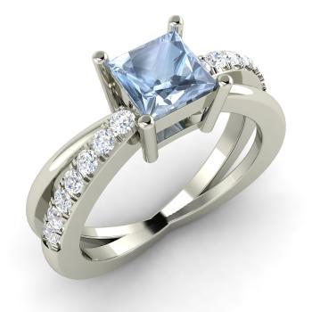 Aquamarine & Diamond Engagement Ring in 14k White Gold | 1.1 ct. tw. | Princess Cut | Darelena | Diamondere