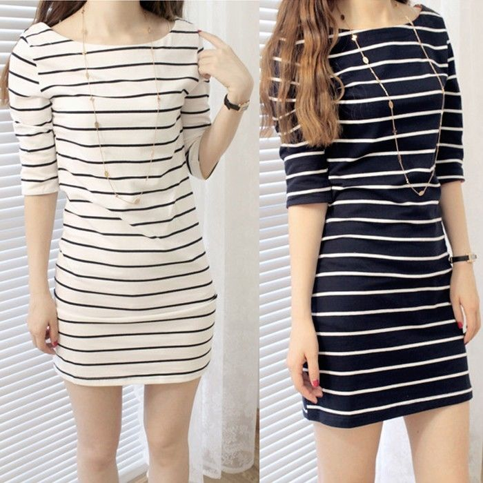 Women Striped Half Sleeve Bodycon Long Top Slim Casual Mini Dress Girls T Shirt | eBay