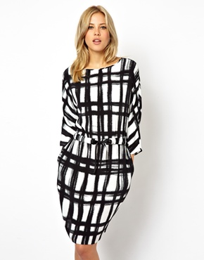 ASOS | ASOS Batwing Dress With Tie Waist In Check Print at ASOS