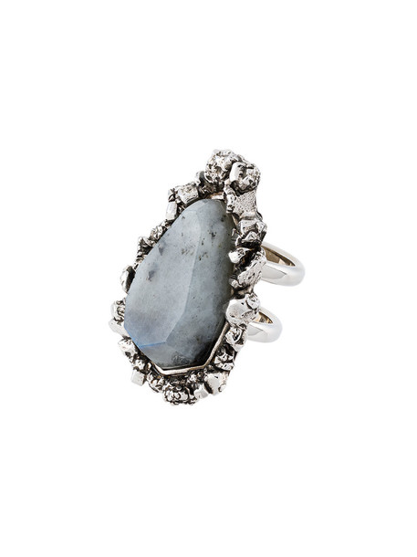 Alexander Mcqueen women ring grey metallic jewels