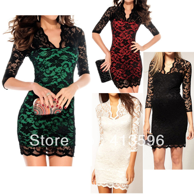 BRAND NEW Hot Stylish Women's MINI LACE SLIM SEXY Ladies'  V NECK 3/4 SLEEVE DRESS 8 Colors , Free Shipping Dropshipping-in Dresses from Apparel & Accessories on Aliexpress.com