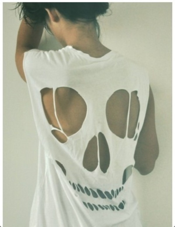 Sexy Womens Short Sleeve Long Cut Out Skull Back Tops T