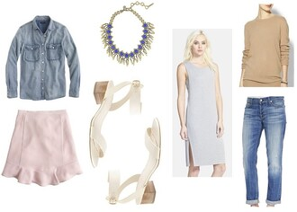 prosecco and plaid blogger jeans statement necklace denim shirt pink skirt grey dress