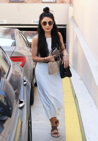 dress maxi dress summer outfits summer dress vanessa hudgens sunglasses sandals hairstyles