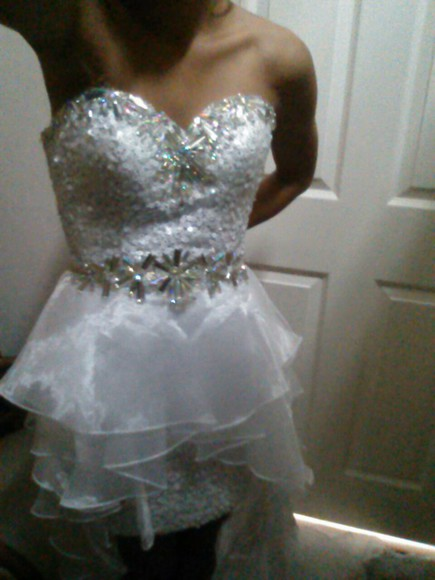 prom prom dress beading sequin dress white dress sequins prom dresses 2014 highlow high low snowflakes