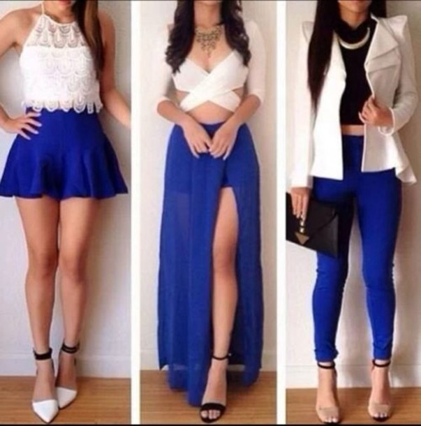 jewels necklace jacket shoes jeans tank top royal blue blue and white white blue slit skirt blue skirt white crop tops crop tops lace top white lace top white jacket cut out crop top slit maxi skirt skater skirt blue pants outfit idea outfit blouse skirt leggings dress cardigan shirt pants maxi skirt white too heels black straps open toes 6inces blazer