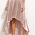 Light Pink Pleated High Low Chic Skirt