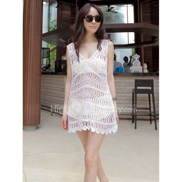 068f6e90e2166 Elegant Woman Girls White V-neck Polyester Beach Bikini Cover Up ...