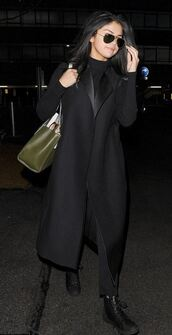 coat,all black everything,fall outfits,selena gomez,shoes