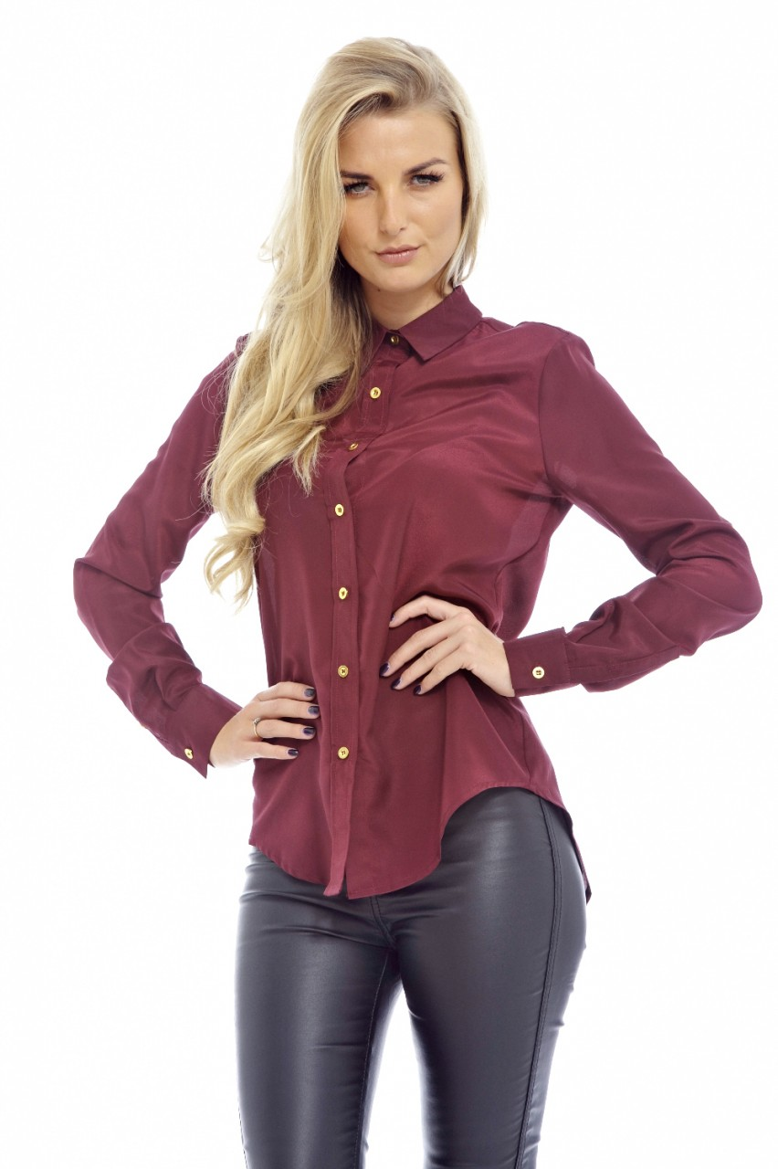 Burgundy gold button blouse