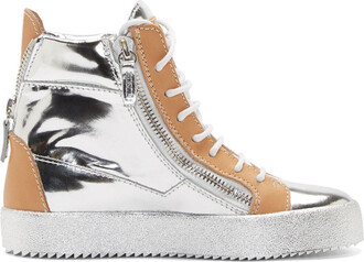 london sneakers silver leather beige wedge sneakers shoes