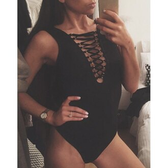 jumpsuit bodysuit bodycon romper rose wholesale black sexy dress lace up top sleeveless selfie instagram hot