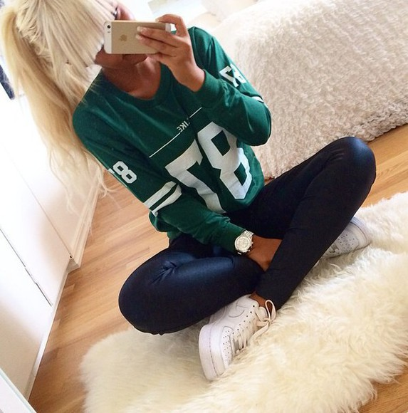 girly lovely green green sweater cool white, black, grey,jordans,girls,high tops awesome 1955 hoodie