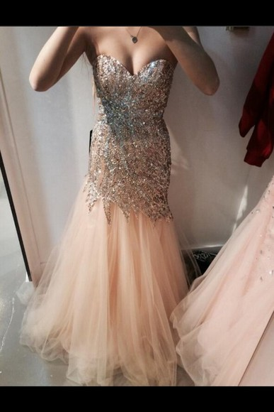 dress prom homecoming peach dresses pretty sparkly dress style fashion i want this dress