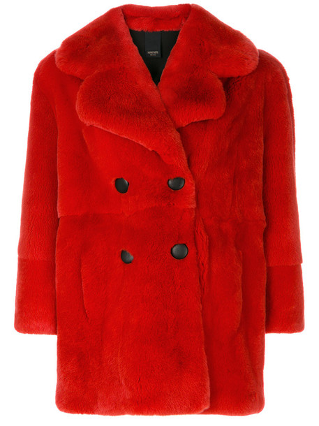 Numerootto coat fur women silk red