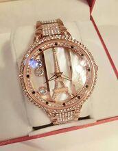 jewels,eiffel tower,watch,gold,paris,dimond watch,sparkle