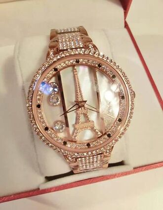 jewels eiffel tower watch gold paris dimond watch sparkle