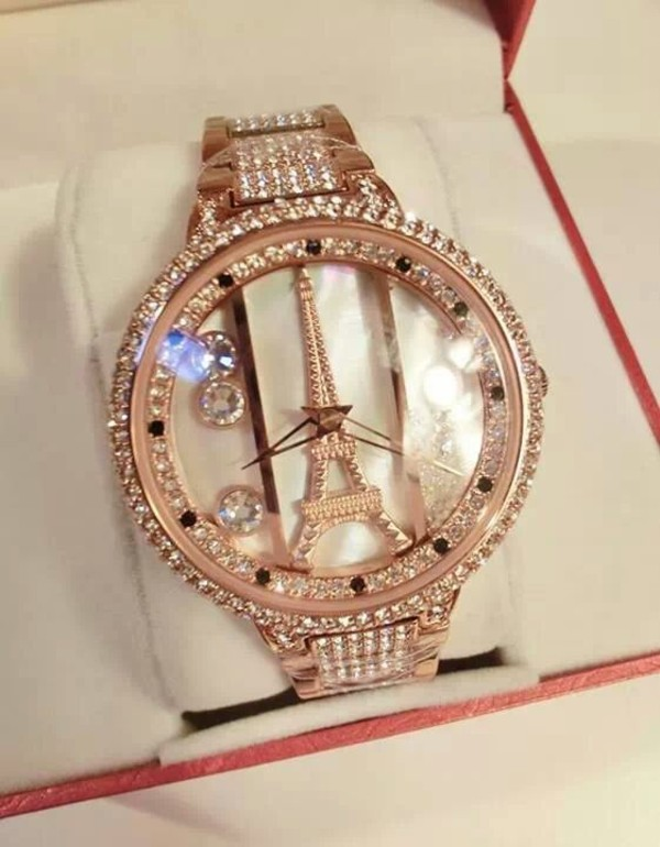 jewels eiffel tower watch gold paris dimond watch sparkle