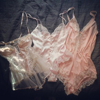 blouse one piece pink light pink lingerie set lace lingerie lingere lace sleepwear sleepwear seethroughblouse pls hep