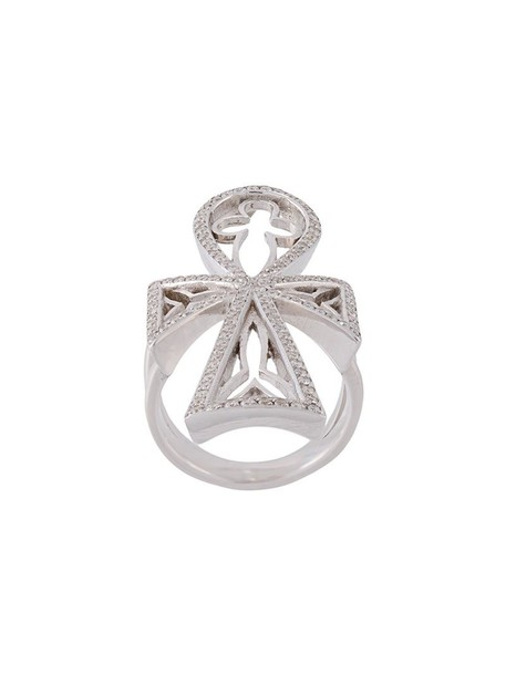 Loree Rodkin cross metallic women ring jewels