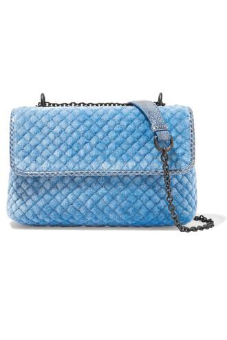 quilted bag shoulder bag velvet blue
