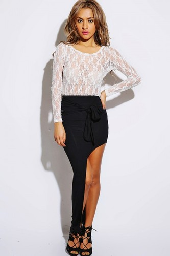 Tie Me Down Black Asymmetrical Skirt - JuJu's Closet