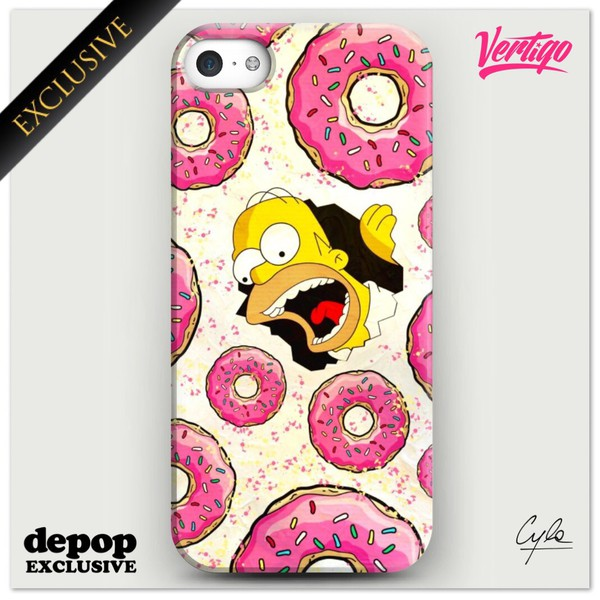 the simpsons homer eating homersimpson homer fashion iphone case donut girly yellow bart simpson dope wishlist jewels