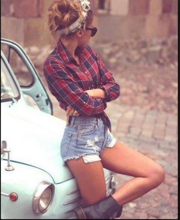 plaid shirt shoes shirt shorts