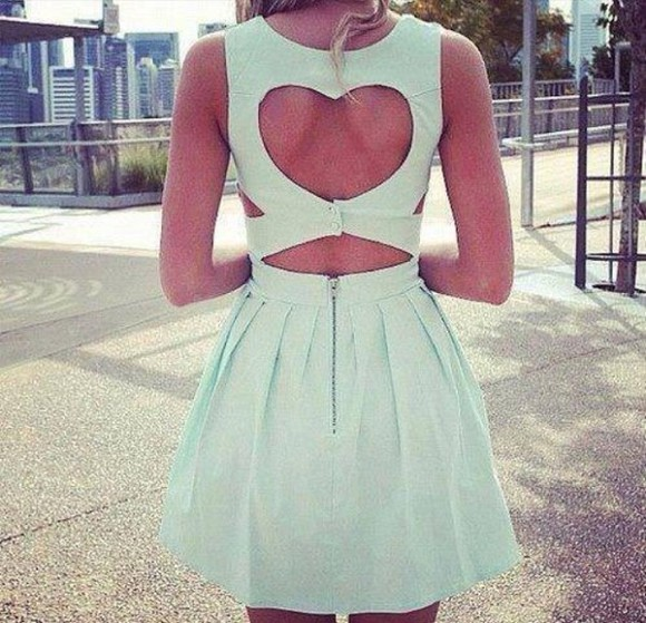 dress mint green dress heart