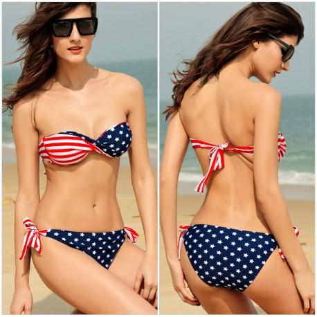 Star Stripe Bikini Swimsuit lml5010 - lol-malls - Trustful Online Shopping for Women Dresses