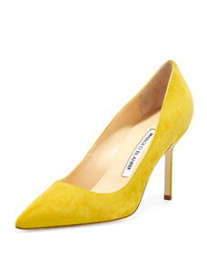 Manolo Blahnik BB Suede 90mm Pump, Limone (Made to Order) - Neiman Marcus