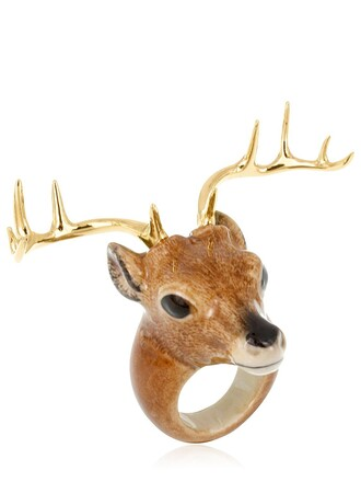 deer ring gold multicolor jewels